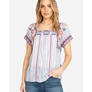 Johnny Was Kiernan Embroidered Peasant Blouse L